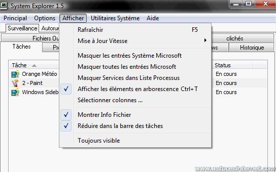 System Explorer : Menu