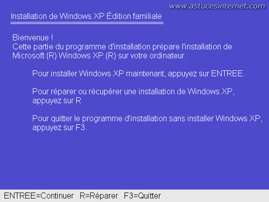Ecran d'accueil Boot depuis CD Windows