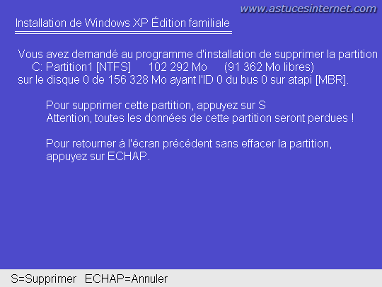 Suppression d'une partition