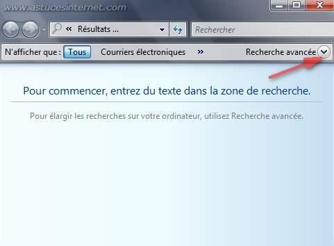 Recherche avancée avec Windows Vista