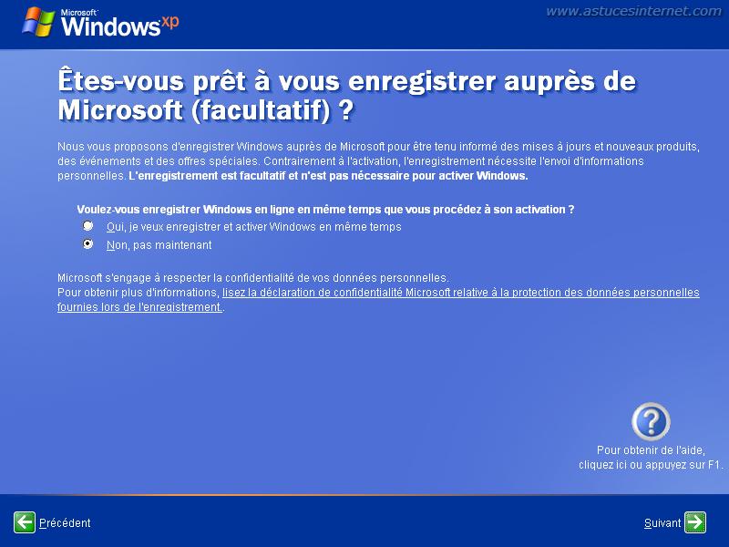 Installation de Windows XP : enregistrement