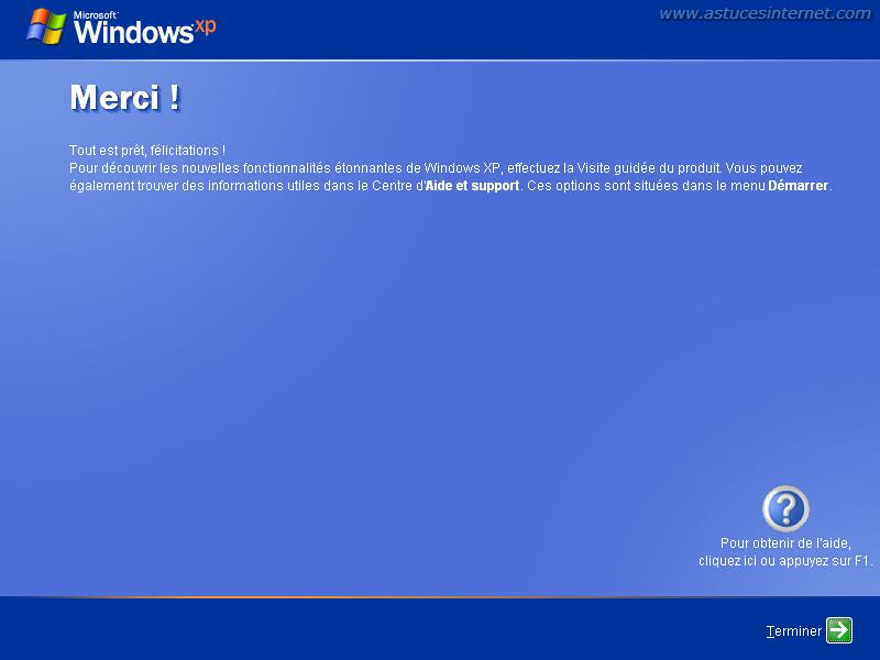Installation de Windows XP : Fin